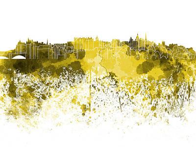 Scotland Painting - Edinburgh Skyline In Yellow Watercolor On White Background by Pablo Romero