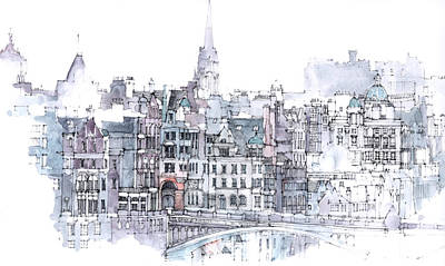 Tonal Painting - Edinburgh Skyline by Simone Ridyard