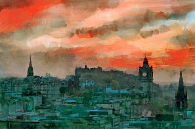 Old Town Digital Art - Edinburgh Sunset by Yury Malkov