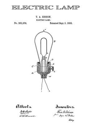 Filament Digital Art - Edison Electric Lamp Patent  1882 by Daniel Hagerman
