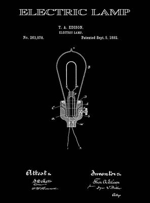 Filament Digital Art - Edison Electric Lamp Patent 2  -  1882 by Daniel Hagerman