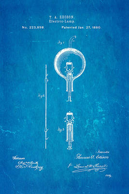 Edison Electric Lamp Patent Art 1880 Blueprint Art Print