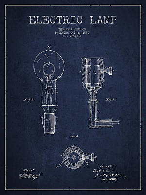 Edison Electric Lamp Patent From 1882 - Blue Art Print