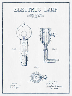 Edison Drawing - Edison Electric Lamp Patent From 1882  - Blue Ink by Aged Pixel