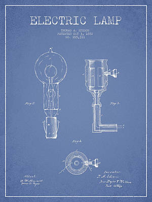Edison Drawing - Edison Electric Lamp Patent From 1882 - Light Blue by Aged Pixel