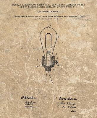 University Of Arizona Mixed Media - Edison Electric Lamp Patent Marble by Dan Sproul