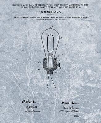 Lamp Mixed Media - Edison Electric Lamp Patent Orginal File by Dan Sproul