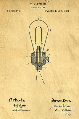 Edison Light Bulb Patent Art Art Print by Edward Fielding