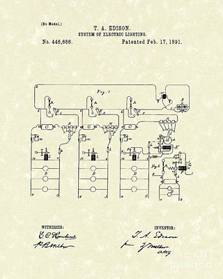 Drawing - Edison Lighting System 1891 Patent Art by Prior Art Design