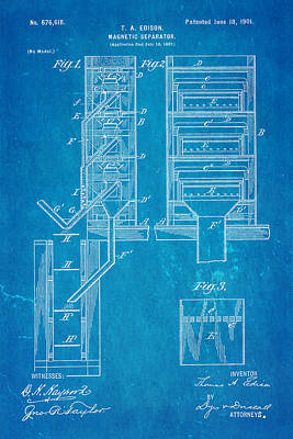 Edison Magnetic Separator Patent Art 1901 - Blueprint Art Print