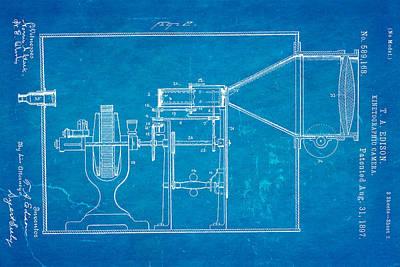 Edison Motion Picture Camera Patent Art 2 1897 Blueprint Art Print