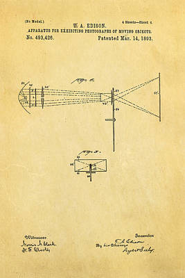 Edison Motion Picture Patent Art 2 1893 Art Print by Ian Monk