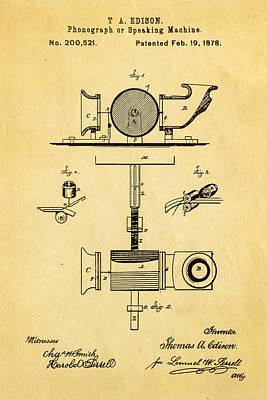 1878 Photograph - Edison Phonograph Patent Art 1878 by Ian Monk