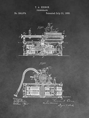 Phonograph Drawing - Edison Phonograph Patent by Dan Sproul