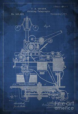 Edison Printing Telegraphs Patent Blueprint 2 Art Print