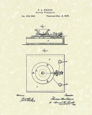 Edison Drawing - Edison Telephone 1879 Patent Art by Prior Art Design