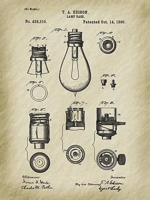 Photograph - Edison's 1890 Lamp Base Patent Art by Barry Jones