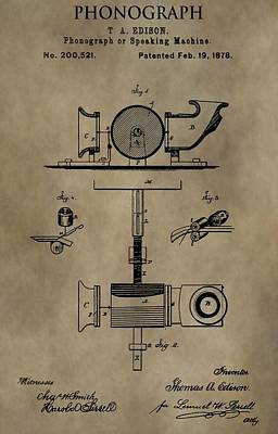 Sound Digital Art - Edison's Phonograph Patent by Dan Sproul