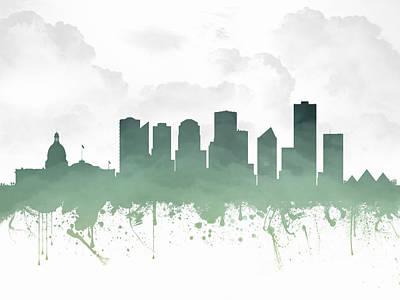 Risen Mixed Media - Edmonton Alberta Skyline - Teal 03 by Aged Pixel