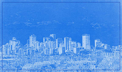 High Rise Painting - Edmonton Canada Blueprint by Celestial Images