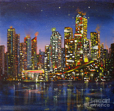 Old Street Painting - Edmonton Night Lights by Mohamed Hirji