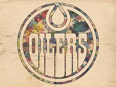 Edmonton Oilers Painting - Edmonton Oilers Hockey Poster by Florian Rodarte