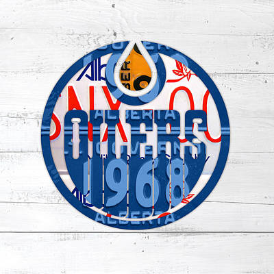 Oilers Mixed Media - Edmonton Oilers Hockey Team Retro Logo Vintage Recycled Alberta Canada License Plate Art by Design Turnpike