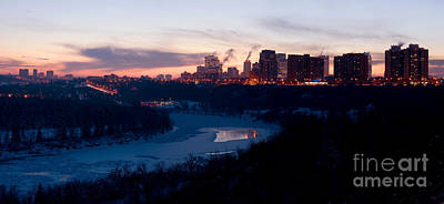 Photograph - Edmonton Winter Skyline At Dusk by Terry Elniski