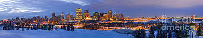 Photograph - Edmonton Winter Skyline Panorama 2 by Terry Elniski