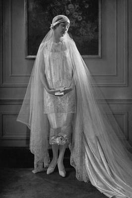 Photograph - Edna Johnson In A Bridal Gown by Edward Steichen