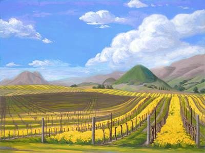 California Vineyard Painting - Edna Valley Nurturing Season by Laurel Sherrie