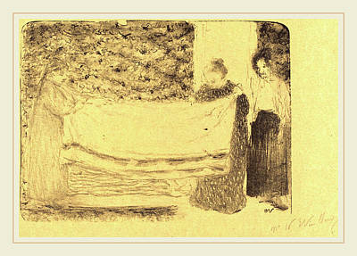 Edouard Vuillard French, 1868-1940, Folding The Linen Le Art Print