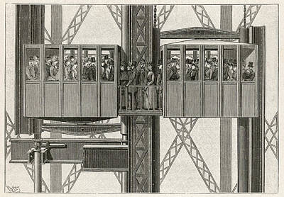 Eiffel Tower Drawing - Edoux Lift At The 3rd Storey Transfer by Mary Evans Picture Library