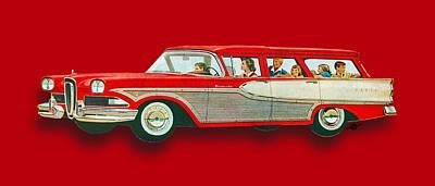 Oil Slick Painting - Edsel Car Advertisement Wagon Red by Tony Rubino