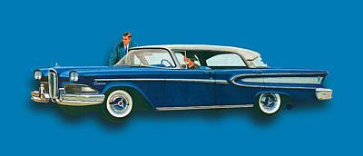 Oil Slick Painting - Edsel Citation Car Advertisement Sedan Blue by Tony Rubino