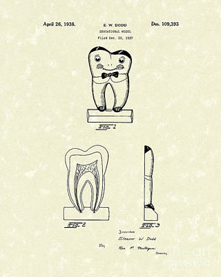 Teeth Drawing - Educational Tooth 1938 Patent Art by Prior Art Design