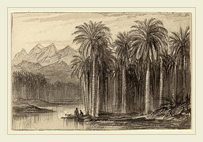 Canoe Drawing - Edward Lear, Figures Setting Out In Canoes From A Palm by Litz Collection