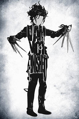 Johnny Depp Drawing - Edward Scissorhands - Johnny Depp by Ayse Deniz