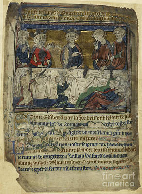Edward The Confessor At Table Art Print by British Library