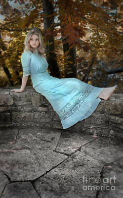 Photograph - Edwardian Girl On A Stone Wall by Jill Battaglia
