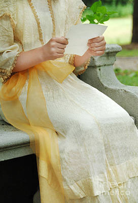 Photograph - Edwardian Girl Reading A Letter by Jill Battaglia