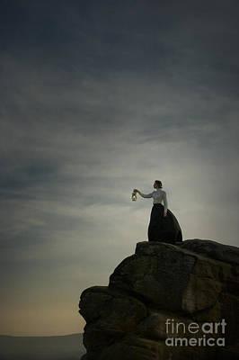 Burning Night Time Sky Photograph - Edwardian Woman With Lantern by Lee Avison
