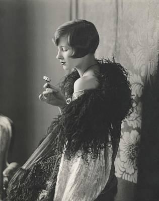 Edythe Baker Wearing A Black Shawl Art Print