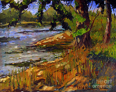 Edge Painting - Eel River Campsite Feeling Like A Monet by Charlie Spear