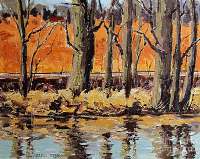 Indiana Landscapes Painting - Eel River Tow Path by Charlie Spear