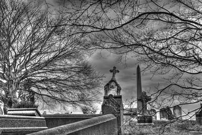Eerie Graveyard Art Print by Jennifer Ancker