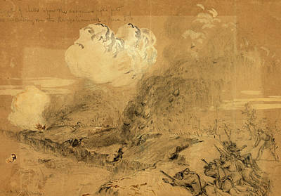 Wash Drawing - Effects Of Shells Upon The Enemies Rifle Pits by Quint Lox