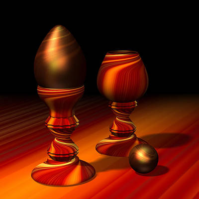Marble Eyes Digital Art - Egg And Swirly Red 2d by Hakon Soreide