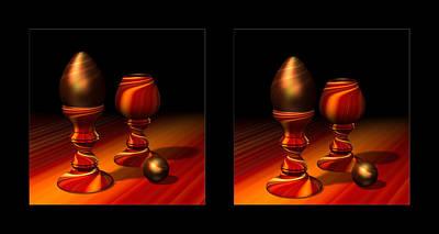 Marble Eyes Digital Art - Egg And Swirly Red 3d by Hakon Soreide