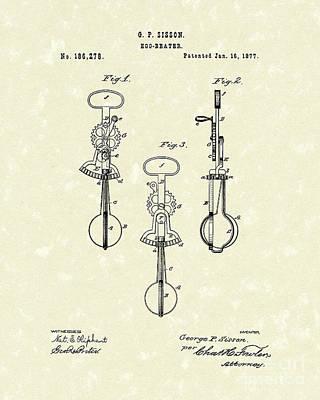 Egg Beater 1877 Patent Art Art Print by Prior Art Design